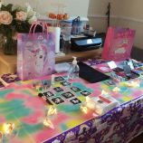 Table set up for unicorn themed pamper party