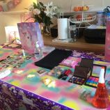 Unicorn pamper party table setup