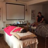 Relaxing facial on hen pamper party